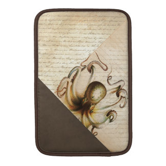Bronze Octopus Old Love Letters Brown Velvet Look MacBook Sleeve