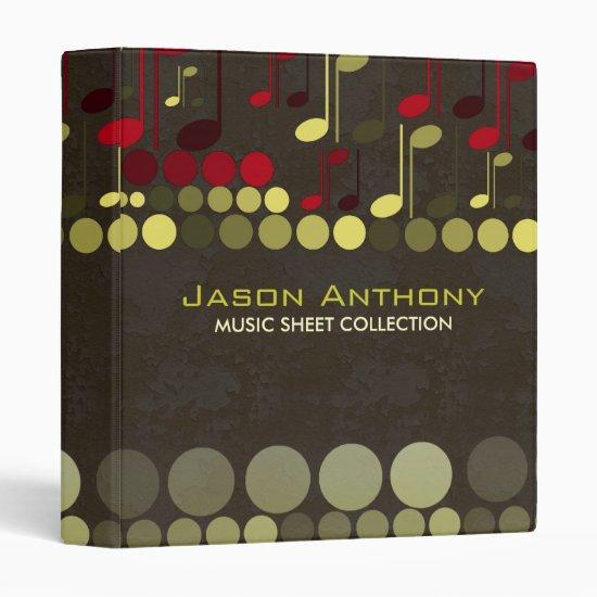Bronze Olive Music Notes Sheet Collection Album Bi 3 Ring Binder