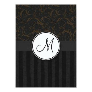 Bronze on Black Floral Wisps, Stripes & Monogram Card