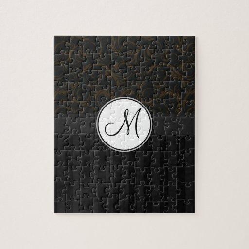 Bronze on Black Floral Wisps, Stripes & Monogram Jigsaw Puzzle