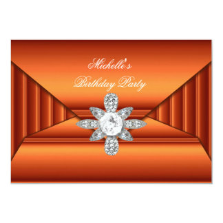 Bronze Orange Birthday Party Jewel Purse Look Card