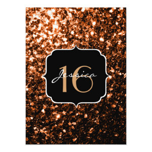 Bronze Orange Brown glitter sparkles  5.5x7.5 Paper Invitation Card