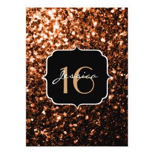 Bronze Orange Brown glitter sparkles  5.5x7.5 Paper Invitation Card