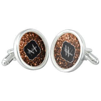 Bronze Orange Brown glitters sparkles Monogram Cufflinks