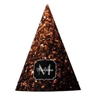 Bronze Orange Brown glitters sparkles Monogram Party Hat