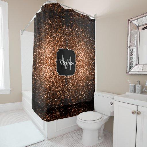 Bronze Orange Brown Glitters Sparkles Monogram Shower Curtain Zazzle