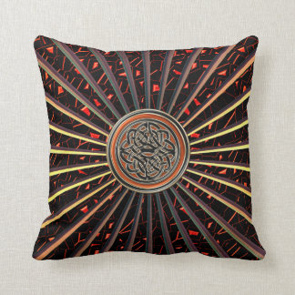 Bronze Orange Metallic Pillow with Celtic Knot