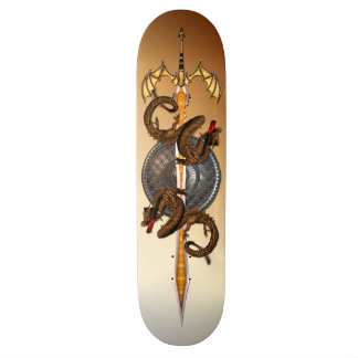 Bronze Oriental Dragons with Sword Skateboard