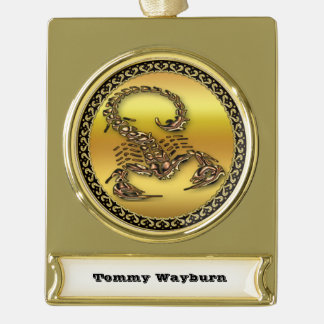 Bronze Poisonous scorpion very venomous insect Gold Plated Banner Ornament