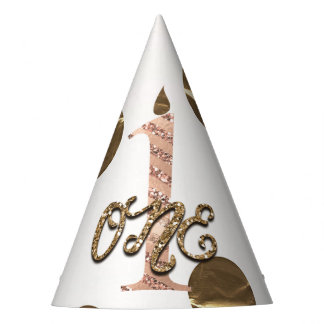Bronze Polka Dots Rose Gold ONE 1 1st Birthday Party Hat