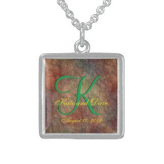 Bronze Red Texture 3d Monogram Sterling Silver Necklace