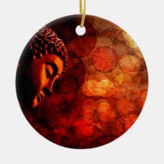 Bronze Red Zen Buddha Statue Meditating Ceramic Ornament