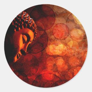 Bronze Red Zen Buddha Statue Meditating Classic Round Sticker