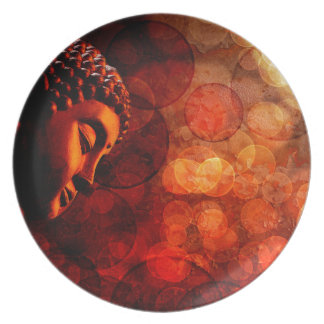 Bronze Red Zen Buddha Statue Meditating Dinner Plate