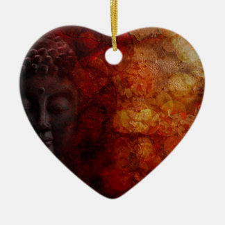 Bronze Red Zen Buddha Statue Meditating Front Ceramic Ornament