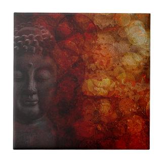 Bronze Red Zen Buddha Statue Meditating Front Ceramic Tile