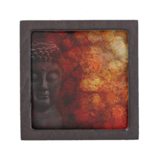 Bronze Red Zen Buddha Statue Meditating Front Jewelry Box