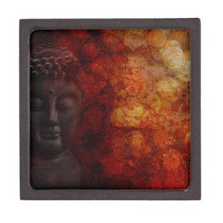 Bronze Red Zen Buddha Statue Meditating Front Keepsake Box