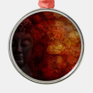 Bronze Red Zen Buddha Statue Meditating Front Metal Ornament
