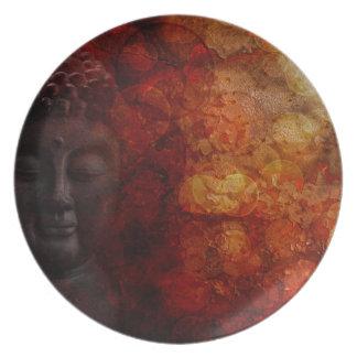Bronze Red Zen Buddha Statue Meditating Front Plate