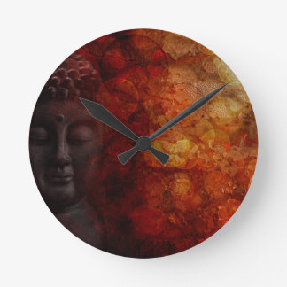 Bronze Red Zen Buddha Statue Meditating Front Round Clock