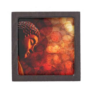 Bronze Red Zen Buddha Statue Meditating Gift Box
