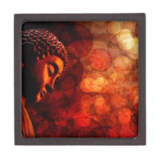 Bronze Red Zen Buddha Statue Meditating Keepsake Box