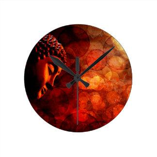 Bronze Red Zen Buddha Statue Meditating Round Clock