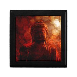 Bronze Red Zen Buddha Statue Raised Palm Jewelry Box