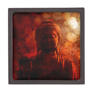 Bronze Red Zen Buddha Statue Raised Palm Keepsake Box