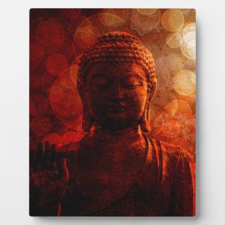 Bronze Red Zen Buddha Statue Raised Palm Plaque