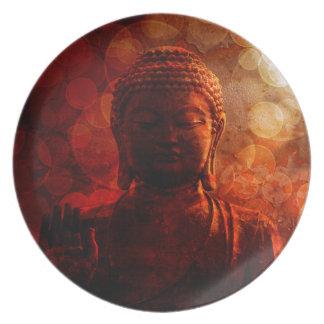 Bronze Red Zen Buddha Statue Raised Palm Plate