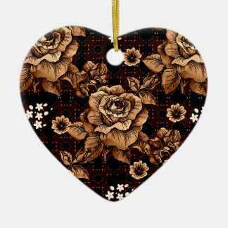 Bronze Roses Ceramic Ornament