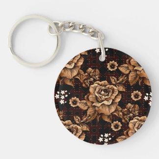 Bronze Roses Single-Sided Round Acrylic Keychain