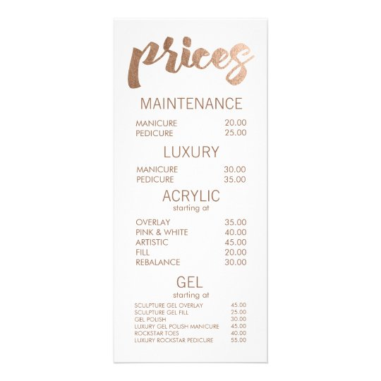 Bronze salon retail menu price list template cards zazzle bronze salon retail menu price list template cards maxwellsz