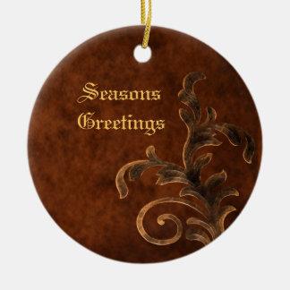 Bronze Scroll Leaf  Holiday Christmas Ornament