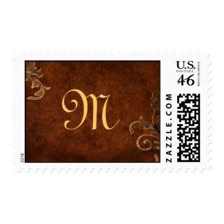 Bronze Scroll Leaf Monogrammed Postage Stamp stamp