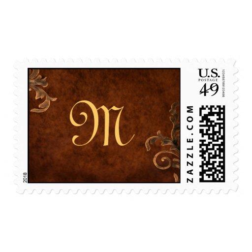 Bronze Scroll Leaf Monogrammed Postage Stamp