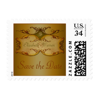 Bronze Scrolls Monogrammed Save the Date Postage