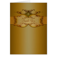 Bronze Scrolls Monogrammed Thank You Card
