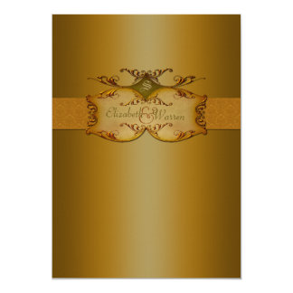 Bronze Scrolls Monogrammed Wedding Invitation