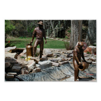 Bronze sculpture of Fishery Workers Poster