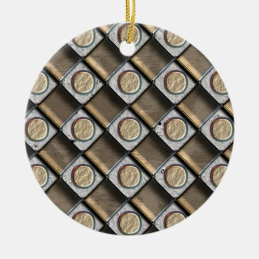 Bronze, Silver & Gold Double-Sided Ceramic Round Christmas Ornament