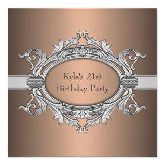 Bronze Silver Mans 21st Birthday Party Custom Invitations