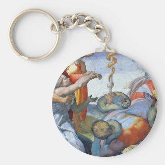 Bronze snake by Michelangelo Unterberger Basic Round Button Keychain