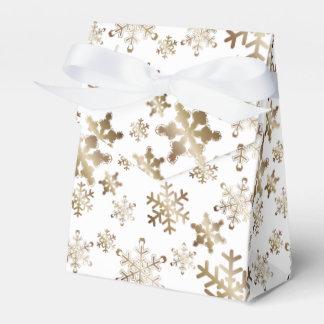 Bronze Snowflakes on White Ribbon Favor Box