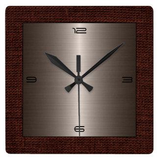 Bronze Stainless Steel Modern Burlap Border Square Wall Clock