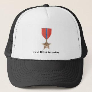 Bronze Star, God Bless America Trucker Hat