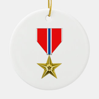 BRONZE STAR MEDAL Double-Sided CERAMIC ROUND CHRISTMAS ORNAMENT