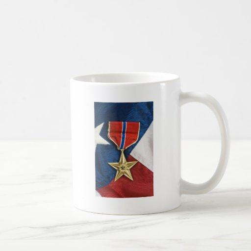 Bronze Star on American flag Classic White Coffee Mug